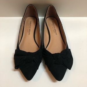 Christian Soriano Suede Bow Pointed Flats